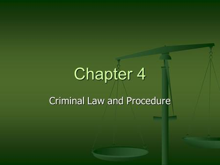 Chapter 4 Criminal Law and Procedure. Crimes and Criminal Behavior Hot Debate Hot Debate What's Your Verdict What's Your Verdict A question of ethics.