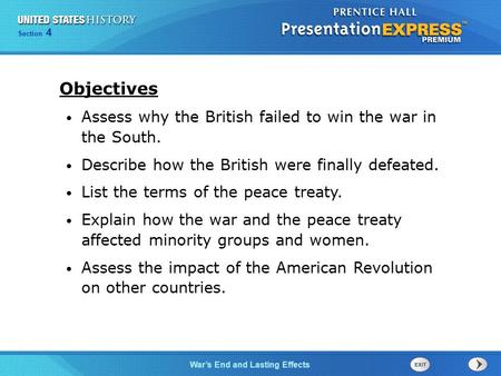 Objectives Assess why the British failed to win the war in the South.