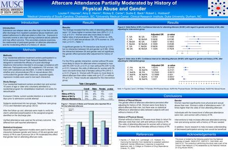 Aftercare Attendance Partially Moderated by History of Physical Abuse and Gender Louise F. Haynes 1 ; Amy E. Herrin 1 ; Rickey E. Carter 1 ; Sudie E. Back.