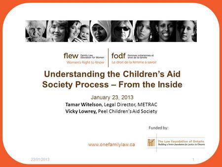 Www.onefamilylaw.ca Understanding the Children's Aid Society Process – From the Inside January 23, 2013 23/01/20131 Tamar Witelson, Legal Director, METRAC.