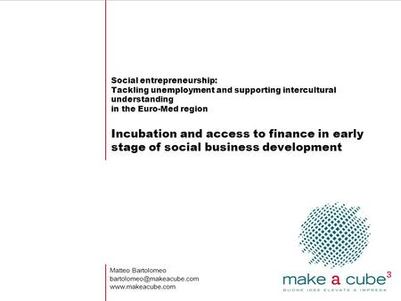 Social entrepreneurship: Tackling unemployment and supporting intercultural understanding in the Euro-Med region Incubation and access to finance in early.