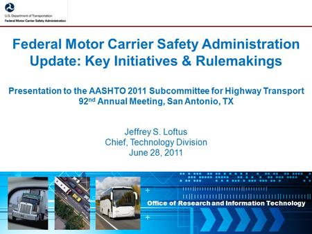 Commercial motor vehicle connectivity v2i communications for Motor carrier safety administration