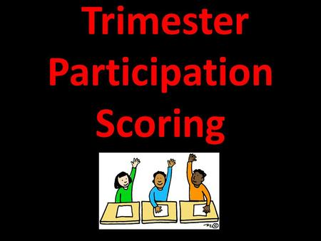 Trimester Participation Scoring. Name:______________________ 1.Active Participation: 2.Attendance: 3.Behavior: 4.Group Work: 5.Organization: 6.Preparation: