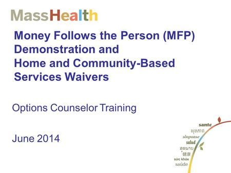 Money Follows the Person (MFP) Demonstration and Home and Community-Based Services Waivers Options Counselor Training June 2014.