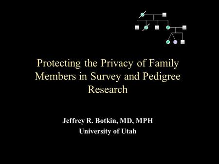 Protecting the Privacy of Family Members in Survey and Pedigree Research Jeffrey R. Botkin, MD, MPH University of Utah.