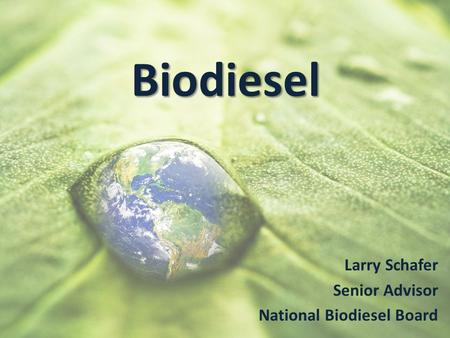 Biodiesel Larry Schafer Senior Advisor National Biodiesel Board.