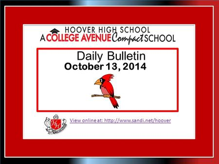View online at:  Daily Bulletin October 13, 2014.