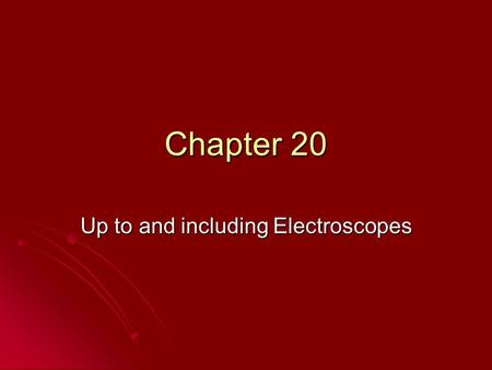 Up to and including Electroscopes