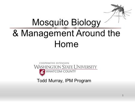 1 Mosquito Biology & Management Around the Home Todd Murray, IPM Program.
