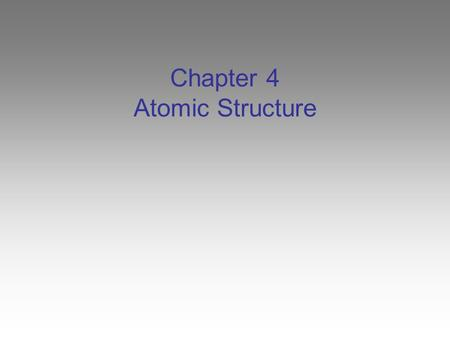 Chapter 4 Atomic Structure. The Atom You cannot see the tiny fundamental particles that make up matter. Yet, all matter is composed of such particles,