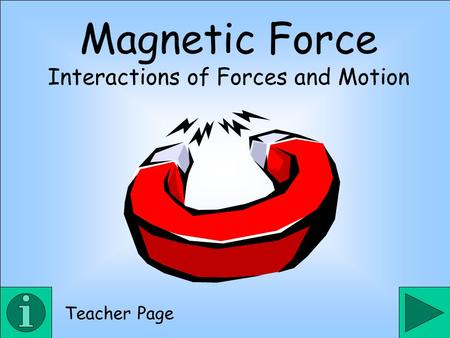 Magnetic Force Interactions of Forces and Motion Teacher Page.