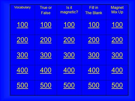 Vocabulary True or False Is it magnetic? Fill in The Blank Magnet Mix Up 100 200 300 400 500.