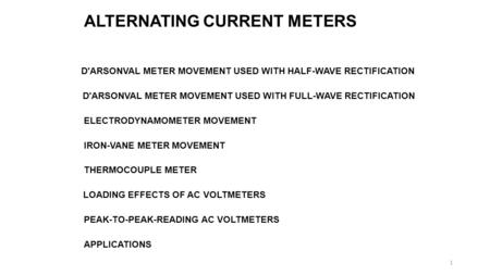 ALTERNATING CURRENT METERS D'ARSONVAL METER MOVEMENT USED WITH HALF-WAVE RECTIFICATION D'ARSONVAL METER MOVEMENT USED WITH FULL-WAVE RECTIFICATION ELECTRODYNAMOMETER.