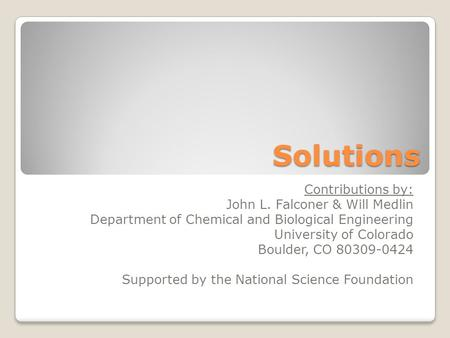 Solutions Contributions by: