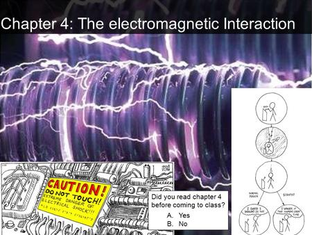Chapter 4: The electromagnetic Interaction Did you read chapter 4 before coming to class? A.Yes B.No.