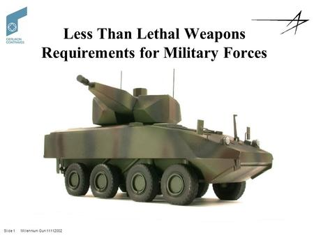 Slide 1 Millennium Gun 11112002 Less Than Lethal Weapons Requirements for Military Forces.