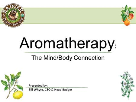 Aromatherapy : The Mind/Body Connection Presented by: Bill Whyte, CEO & Head Badger.