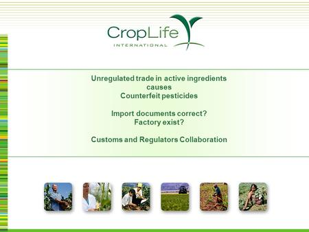 Unregulated trade in active ingredients causes Counterfeit pesticides Import documents correct? Factory exist? Customs and Regulators Collaboration.