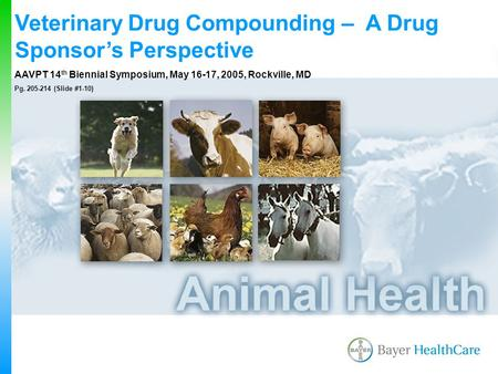 Veterinary Drug Compounding – A Drug Sponsor's Perspective AAVPT 14 th Biennial Symposium, May 16-17, 2005, Rockville, MD Pg. 205-214 (Slide #1-10)
