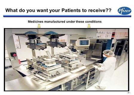 - 0 - Medicines manufactured under these conditions What do you want your Patients to receive??