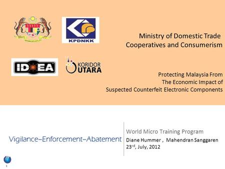 1 Vigilance–Enforcement–Abatement World Micro Training Program Diane Hummer, Mahendran Sanggaren 23 rd, July, 2012 Ministry of Domestic Trade Cooperatives.