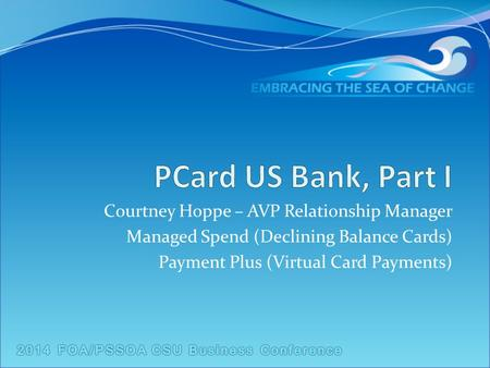 Courtney Hoppe – AVP Relationship Manager Managed Spend (Declining Balance Cards) Payment Plus (Virtual Card Payments)
