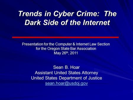 The dark side of the internet cybercrime