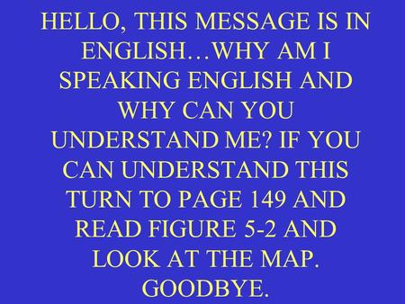 HELLO, THIS MESSAGE IS IN ENGLISH…WHY AM I SPEAKING ENGLISH AND WHY CAN YOU UNDERSTAND ME? IF YOU CAN UNDERSTAND THIS TURN TO PAGE 149 AND READ FIGURE.