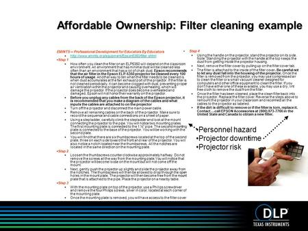 Affordable Ownership: Filter cleaning example EMINTS -- Professional Development for Educators By Educators 