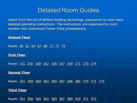 Detailed Room Guides Select from the list of Willard Building technology classrooms to view more detailed operating instructions. The instructions are.