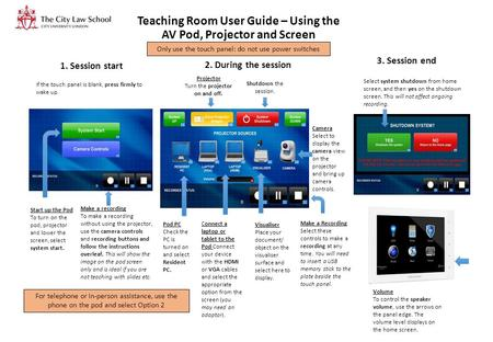 Teaching Room User Guide – Using the AV Pod, Projector and Screen If the touch panel is blank, press firmly to wake up. Start up the Pod To turn on the.
