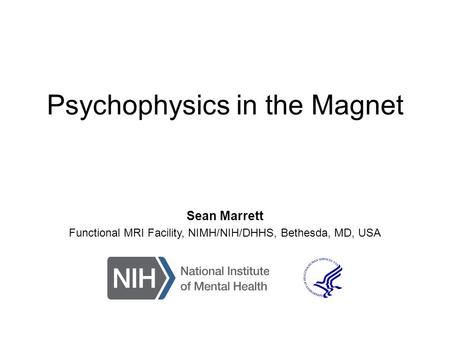 Psychophysics in the Magnet Sean Marrett Functional MRI Facility, NIMH/NIH/DHHS, Bethesda, MD, USA.
