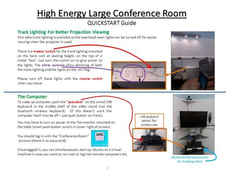 High Energy Large Conference Room QUICKSTART Guide Track Lighting For Better Projection Viewing Dim-able track lighting is available so the overhead neon.