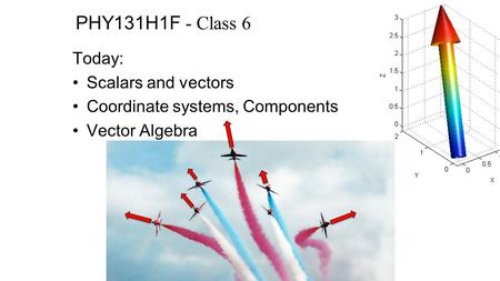 PHY131H1F - Class 6 Today: Scalars and vectors Coordinate systems, Components Vector Algebra.