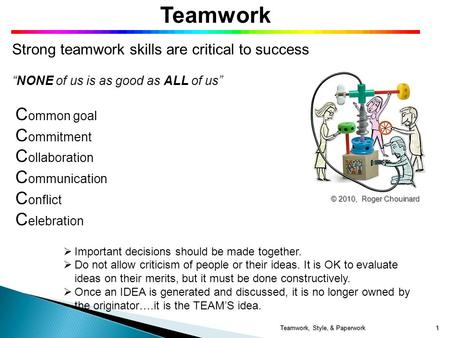 "Teamwork Strong teamwork skills are critical to success ""NONE of us is as good as ALL of us"" C ommon goal C ommitment C ollaboration C ommunication C onflict."