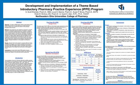 Development and Implementation of a Theme Based Introductory Pharmacy Practice Experience (IPPE) Program S. Scott Wisneski, Pharm.D., MBA, Louis D. Barone,