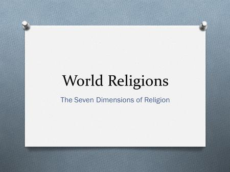 The Seven Dimensions of Religion