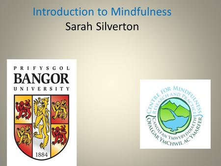 "Introduction to Mindfulness Sarah Silverton. Mindfulness Mindfulness is.... ""....paying attention on purpose, in the present moment, non-judgementally...."""