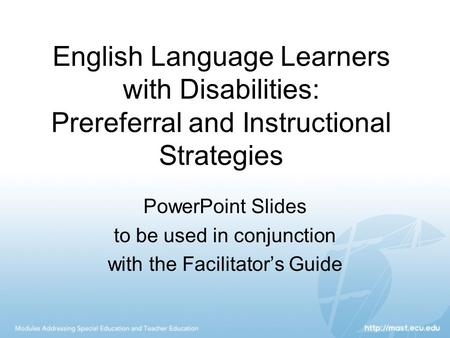 PowerPoint Slides to be used <strong>in</strong> conjunction