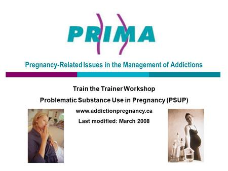 Pregnancy-Related Issues in the Management of Addictions Train the Trainer Workshop Problematic Substance Use in Pregnancy (PSUP) www.addictionpregnancy.ca.