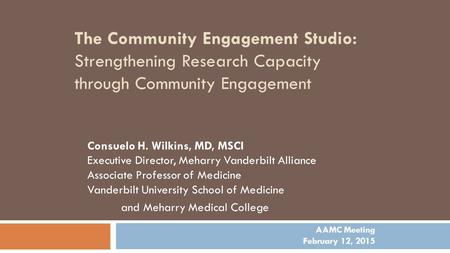 The Community Engagement Studio: Strengthening Research Capacity through Community Engagement Consuelo H. Wilkins, MD, MSCI Executive Director, Meharry.