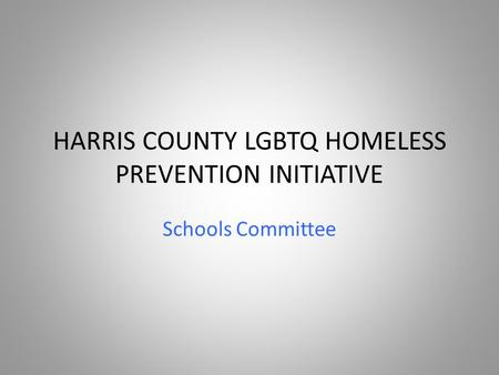 HARRIS COUNTY LGBTQ HOMELESS PREVENTION INITIATIVE Schools Committee.