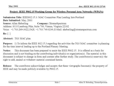 Doc.: IEEE 802.15-01/237r0 Submission May 2001 Allen D. Heberling, XtremeSpectrumSlide 1 Project: IEEE P802.15 Working Group for Wireless Personal Area.