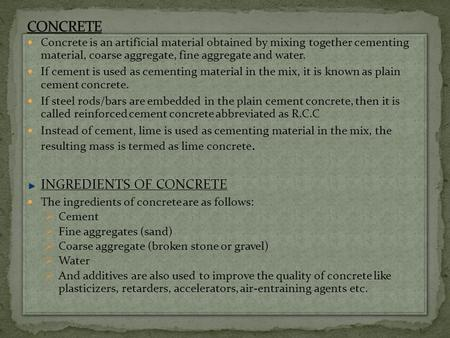 CONCRETE INGREDIENTS OF CONCRETE