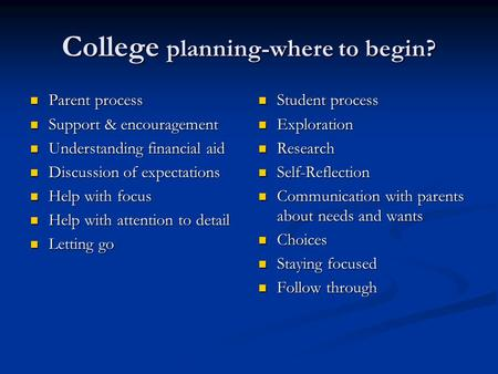College planning-where to begin? Parent process Parent process Support & encouragement Support & encouragement Understanding financial aid Understanding.