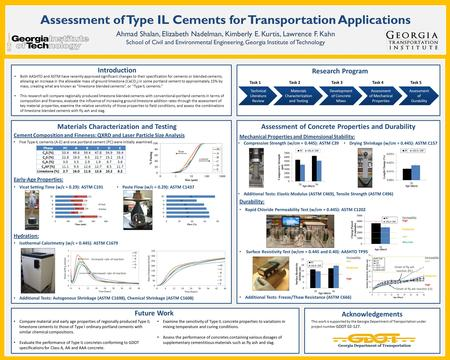 Assessment of Type IL Cements for Transportation Applications Ahmad Shalan, Elizabeth Nadelman, Kimberly E. Kurtis, Lawrence F. Kahn School of Civil and.