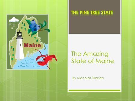 The Amazing State of Maine By Nicholas Diersen. Region and Bordering States New Hampshire is the only bordering state.