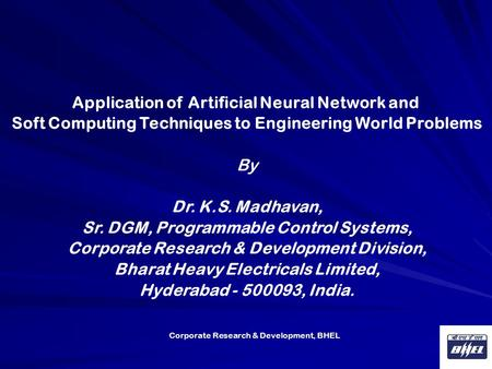 Application of Artificial Neural Network and