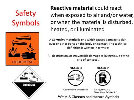Safety Symbols A Corrosive material is one which causes damage to skin, eyes or other parts on the body on contact. The technical definition is written.