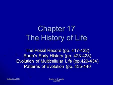 Updated July 2005 Created by C. Ippolito July 2005 Chapter 17 The History of Life The Fossil Record (pp. 417-422) Earth's Early History (pp. 423-428)